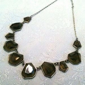 Smokey Modernist Link Gold Tone Necklace
